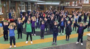 Lower School pupils recording their flash mob dance.